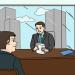 Imagen en caricatura de una entrevista de trabajo, aparecen un jefe sentado en el escritorio y el empleado sentado enfrente.